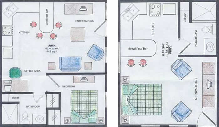Layout of the one Bedroom Apartments and Suites at the Bocas Island Condos